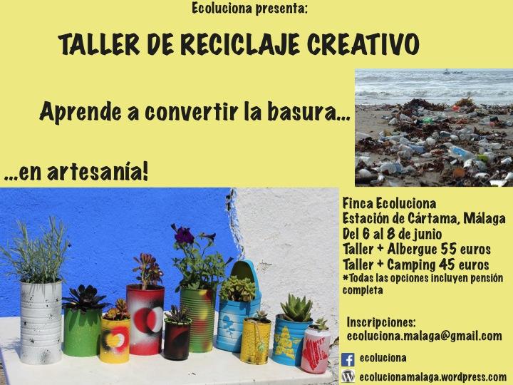 Cartel taller de reciclaje creativo